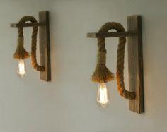 ip ile Rejenere ahşap aplik çifti, Halat duvar lamba aydınlatma