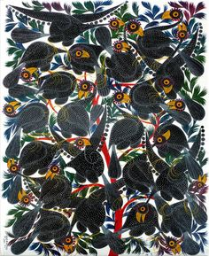 Guinea Fowls with Yellow Beaks, by Omary Ally (Tingatinga Art).