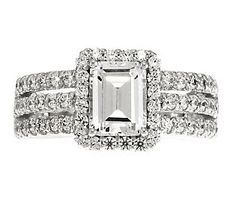 epiphany diamonique emerald halo stack band ring - Qvc Wedding Rings