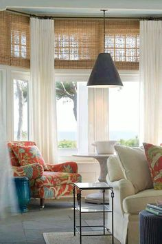 Pictures Of Bamboo Shades With Curtains Living Room Highland Creek House Windows. Curtains Living, Living Room Windows, House Windows, My Living Room, Living Room Decor, Sunroom Windows, Bedroom Blinds, Long Curtains, Small Living