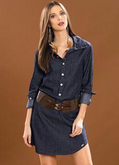 Vestido Jeans Manga Longa - Posthaus