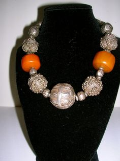 Silver and amber necklace by musicpatricia on Etsy, $200.00