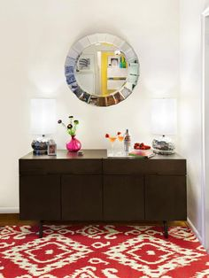 Sleek Cocktail Console in Bright, Contemporary Living Room from HGTV