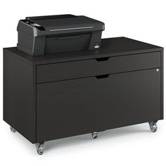 BDI The Modica mobile file pedestal keeps hanging files and supplies close at hand and makes a great home for a printer or all-in-one. File drawer locks providing secure storage. Color: Charcoal Stained Ash