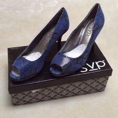 RSVP 8.5 blue heels . RSVP blue/black snakeskin print blue heels . 8.5M. Heel height 3 1/4 . Platform 1/2 . Rsvp Shoes Heels