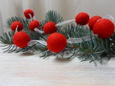 Felt Ball Garland for Christmas Felt Red White by WoolSpring
