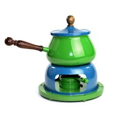 Vintage Retro Green & Blue Fondue Pot Set: Funky colorful fun styling for home kitchen or party buffet serving! Available from OneRustyNail on Etsy. ► http://www.etsy.com/shop/OneRustyNail