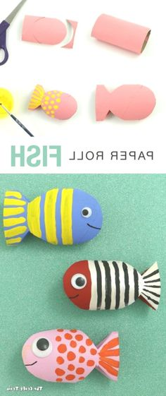 Recycle some paper rolls with this fishy craft! // Craft by The Craft Train Source by cmquinn Ghost Crafts, Diy Crafts To Do, Summer Crafts For Kids, Bunny Crafts, Easter Crafts For Kids, Craft Stick Crafts, Book Crafts, Flower Crafts, Children Crafts