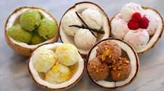 Dairy-Free Coconut Homemade Ice Cream (2 Ingredients/No Machine)  (5 Flavors: Coconut, Vanilla Coconut, Chocolate Almond, Pina Colada Coconut,& Matcha Coconut) (Recipes & Video Tutorial)