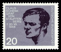 A 1964 German stamp honoring Oberst Claus Schenk Graf von Stauffenberg who was executed in connection with the July 1944 plot against Adolf Hitler Graf Von Stauffenberg, German Stamps, Imperial Knight, Military Units, Total War, German Army, World History, Coat Of Arms, Federal