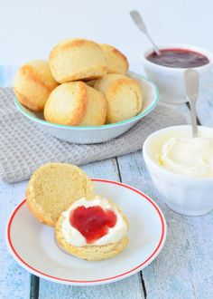 You searched for scones - Laura's Bakery Tea Recipes, Sweet Recipes, Baking Recipes, Brunch, Cream Lemon, High Tea Food, Homemade Scones, Biscuits, English Food