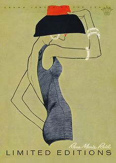Vintage Swimwear 1950s Fashion Posters & Prints