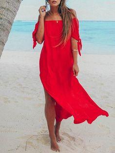 Summer Women Sexy Off Shoulder Beach Dress Short Sleeve Red Black Chiffon Dress High Split Long Maxi Dress Sundress Dress Off Shoulder, Sexy Dresses, Summer Dresses, Beach Dresses, Casual Dresses, Dress Beach, Long Dresses, Elegant Dresses, Maxi Robes