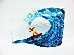 Surf's up! Awesome glass fused project that is easy and fun to show off! Glass Fusing Projects, Surfs Up, Easy Diy, Surfing, Awesome, Fun, Bricolage Facile, Surf, Lol