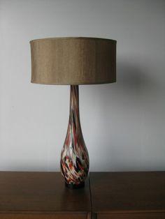One Art Glass Italian Murano Style Table Lamp Vintage Mid Century Modern Eames   eBay