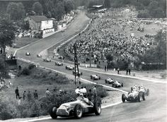 Spa F1 GP, 1950 • J-M Fangio leads the pack. Other descriptions TBD.
