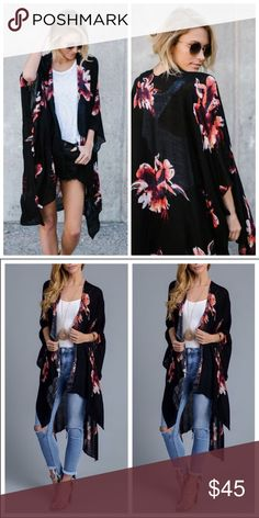 Just In❣️ AMANDA Party Kimono Black Floral Party Kimono. One Size Fits All. Pink Bee Sweaters Shrugs & Ponchos