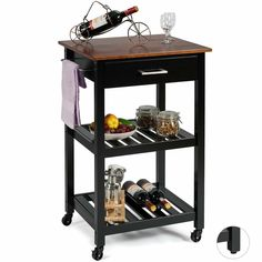 Color:Black The post Giantex Kitchen Island Cart Multifunction Rolling Trolley Small Wood Cart with Drawer, 2 Shelves, Towel Rack (Black) appeared first on Kitchen Room Images. Kitchen Island Trolley, Black Kitchen Island, Kitchen Islands, Wood Cart, Kitchen Arrangement, Rolling Kitchen Island, Black Kitchens, Modern Kitchen Design, Display Shelves