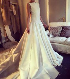 First fitting silk zibeline gown with intricate panel details...#workinprogress ✂️  #wedding #weddingdress #bridal #bridalgown #gown #dress #mikado #zibeline #silk #satin #ivory #bride #madetomeasure #bespoke #hamdmade #dressmaker #couture #knutsford #cheshire #bride #fitting #design #create