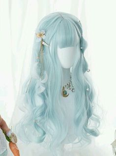 Kawaii Hairstyles, Pretty Hairstyles, Wig Hairstyles, Anime Wigs, Anime Hair, Cosplay Hair, Cosplay Wigs, Long Curly Hair, Curly Hair Styles