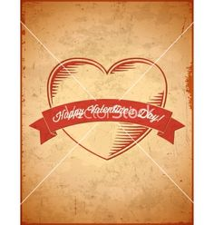 Aged vintage valentines day card with ribbon vector  - by swillklitch on VectorStock®
