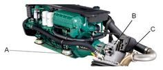 Volvo Penta IPS600: Complete IPS power package with pod unit attached.