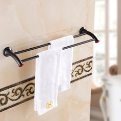 39.59$  Watch now - http://alieyk.shopchina.info/1/go.php?t=32602578832 - Bathroom accessories Black Antique red stone 60cm Double towel bars bathroom towel rack wall mounted antique bathroom towel bars 39.59$ #buyonline
