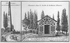 DOC94/11608 - The obelisk and thatched-roof cottage in the garden of the Chinese House | par quadralectics
