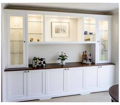 Living Room Built In Cabinets, Living Room Built Ins, Dining Room Buffet, Dining Room Walls, Dining Room Design, Dining Room Storage Cabinets, Tv Cabinets, Living Rooms, Alcove Cupboards