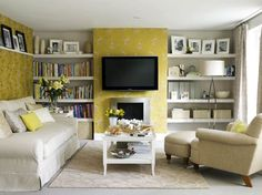 Amazing Yellow Color in Interior Design Ideas : Yellow White Elegant Wallpaper On White Country TV Room Added With Simple White Wall Shelving And Country White Condo Sofa Fitted With Beige Canvas Textured Womb Chair