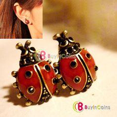 Fashion Cute Nice Style Red Girls Alloy Lady Pair Beetle Ladybug Stud Earring -- BuyinCoins.com 11\ 0.98$
