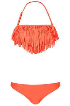 Bright Coral Fringe Bikini