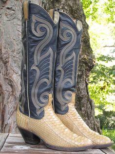 Vintage Larry Mahan Tall  Python Exotic Snakeskin Cowboy Riding Boots 6.5 #LarryMahan #CowboyWestern