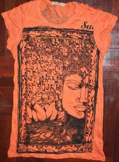Buddha T-shirt Orange,  Tee, Buddha T-shirt, Bohemian (Boho) / Hippie