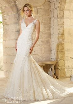 Mori Lee wedding gown. Wedding dress with lace. Lace wedding dress with sheer straps. Sexy, form fitted wedding dress. Light gold wedding dress. 2773