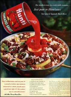 Vintage Quick Spanish Beef Rice 1961 -- cup Wesson, pure vegetable oil 1 medium onion, thinly sliced medium green pepper, chopped lb ground beef 1 cup regular rice, uncooked 2 cans Hunt's Tomato Sauce cups hot wate. Rice Recipes, Mexican Food Recipes, Beef Recipes, Cooking Recipes, Mexican Dishes, Retro Recipes, Vintage Recipes, Vintage Food, Vintage Ads