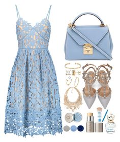 """Summer:spring:dresses"" by pretty-posh-luxe ❤ liked on Polyvore featuring Mark Cross, Valentino, EF Collection, ABS by Allen Schwartz, Ileana Makri, Ilia, Marc Jacobs, Burberry, Maybelline and Too Faced Cosmetics"
