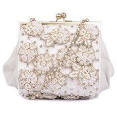 Ruche & Hues Floral Kiss Minaudière Ivory Bag featuring polyvore women's fashion bags handbags clutches sequin purse man bag white handbags beaded clutches party purse
