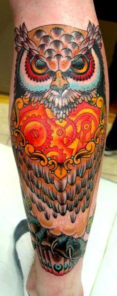 Valerie Vargas owl bright gear heart tattoo