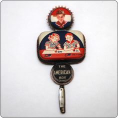The American Boy (painted tin, ephemera, pearl handled miniature pocket knife, copper, sterling silver) Roberta and David Williamson