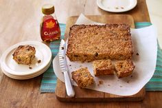 Gluten free Maple Coconut Granola Bar recipe using Clarks Original Maple Carob Syrup in replacement of sugar and developed by contestant Cat Dresser Gbbo, Breakfast On The Go, Granola Bars, Recipe Using, Banana Bread, Coconut, Gluten Free, Sugar, Clarks