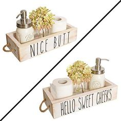 MAINEVENT Nice Butt Bathroom Decor Box, 2 Sides - Funny Gift, Funny Toilet Paper Holder Perfect for Farmhouse Bathroom Decor, Toilet Paper Storage, Rustic Bathroom Decor, or Diaper Organizer TWO SIDES = DOUBLE THE FUN! - Unlike other brands, our storage boxes have a saying on each long side - NICE BUTT (for a good laugh) and HELLO SWEET CHEEKS (for a bit of class). FRIENDS AND BATHROOM GUESTS WILL LOVE YOUR SUPER CUTE BOX - You're sure to get a laugh from our cute, unique and practical piece of Bathroom Counter Decor, Bathroom Shelf Decor, Rustic Bathroom Decor, Bathroom Humor, Bathroom Signs, Rustic Decor, Diy Bathroom Ideas, Decorating Bathroom Shelves, Bathroom Organization