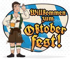 Man with Lederhosen Celebrating Oktoberfest with a Bavarian Greeting Sign