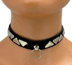 Gothic Halsband Dreieck Nieten & Ring | 332
