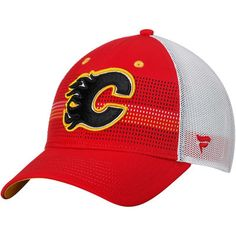 reputable site 44cd3 a17b1 Men s Fanatics Branded Red White Calgary Flames Iconic Grid Trucker  Adjustable Hat