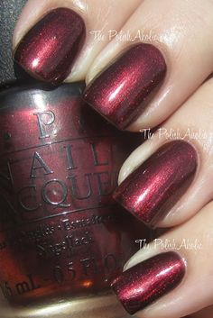 OPI: German-icure by OPI (is a burgundy red shimmer in a blackened base).  I have this color!  Love it!