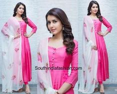 Raashi Khanna wore a pink salwar suit paired up with a contrast floral printed dupatta by Picchika. silver jhumkis from Bcos It's Silver completed her look. Picchika by Urvashi Sethi, pink salwar with white dupatta, plain salwar floral dupatta Dress Indian Style, Indian Fashion Dresses, Indian Designer Outfits, India Fashion, Indian Outfits, Designer Dresses, Indian Wear, Indian Gowns, Dress Fashion