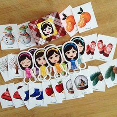 """""""Pia Polya Kıs Temalı Eşleştirme Kartları""""  12ay ve 48ay çocuklar içindir. A3"""