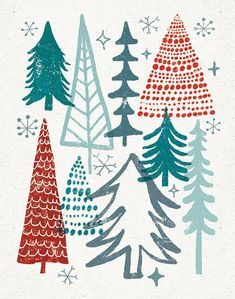 by Michael Mullan, trees, christmas, design, print, lino, pattern, wrap, greeting card, repeat, layer, colour, illustration, festive