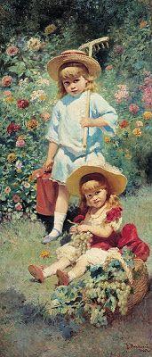 Portrait of Artist's Children - Konstantin Makovsky, 1882 reminds of a painting my grandmother would've enjoyed Art And Illustration, Gravure Illustration, Illustrations, Art Amour, Russian Art, Claude Monet, Beautiful Paintings, Love Art, Oeuvre D'art